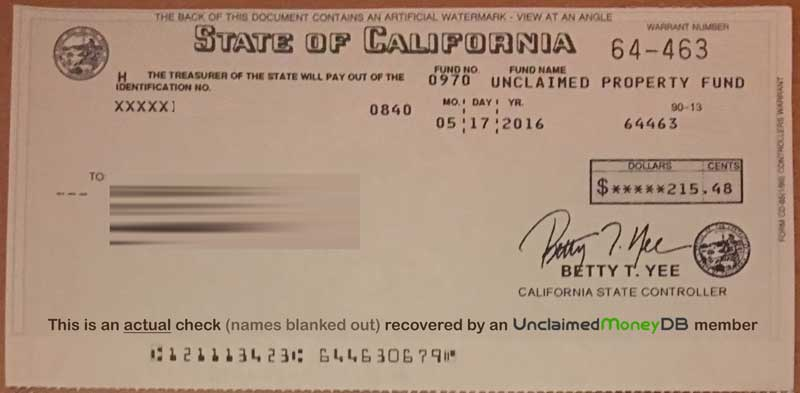 Unclaimed Money Check from State of California